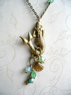 Mermaid necklace long brass chain sea shell charm by botanicalbird, $28.00: Chain Sea, Brass Chain, Sea Shells, Mermaid Necklace, Mermaids, Jewelry, Long Brass
