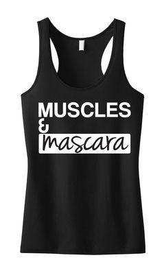 MUSCLES & MASCARA #Workout #Tank Top Black by #NobullWomanApparel, for only $24.99! Click here to buy https://www.etsy.com/listing/183813242/muscles-mascara-workout-tank-top-black?ref=shop_home_active_23