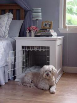 Night stand and dog bed. This would take the big ugly plastic kennel out of the room. I wonder how easy it would be to clean.: Dogs, Nightstand, Pet, Dog Beds, Animal, Night Stand