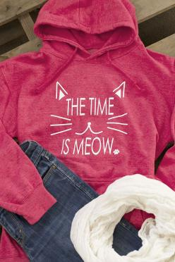 Our heathered hooded sweatshirt isn't only inspirational, it's adorable! Complete with a drawstring hood and cozy front pocket, the time to wear this hoodie is always right meow!:
