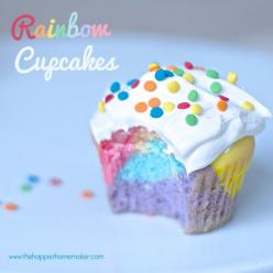 rainbow cupcakes  All I did was make a normal box of white cake mix and divide into six bowls.  I used gel food coloring to dye the batter I started with purple and worked my way backwards through the rainbow adding a spoonful of batter in each color.: Cu