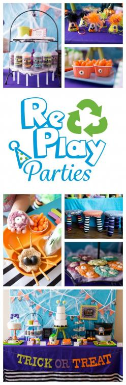Re-Play's Halloween set is perfect for any Halloween party. This monster mash party @SocialPartyStudio  is full of creative ways to entertain your little's.  #halloweenparty: Fall Halloween Thanks, Frightful Fun Halloween, Monsters Birthday, Monst
