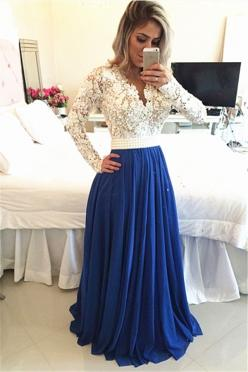 Royal Blue Lace V Neck Popular Evening Dress with Long Sleeve Pearl Belt Long Prom Dresses: Formal Dress With Sleeve, Long Prom Dress, Royal Blue Prom Dress, Long Sleeve, Chiffon Prom Dress, Lace Prom Dress, Royal Blue Bridesmaid Dress, Long Dress Formal