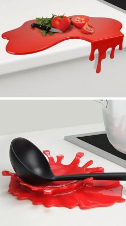 Splash and Puddle // a chopping board that drips off the edge, and a red splash spoon rest.: Red Kitchen, Spoon Rest, Kitchen Gadgets, Gadget Product Design, Splash Spoon, Cutting Board, Red Splash