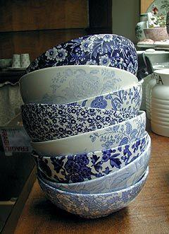 These would go well with my grandmother's beautiful blue-and-white toile-patterned dishes I plan to inherit...: Mixed Blue, White Bowls, Blue China, Blue Bowls, White China, White Dishes, Blue And White Dish, Burleigh Pottery