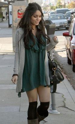 Vanessa Hudgens Fashion Style. Love dress with high socks and boots!  HotWomensClothes.com: Knee High, Sock, Vanessa Hudgens, Fashion Style, Dress, Outfit, Vanessahudgens, Fall Winter, Hudgens Style