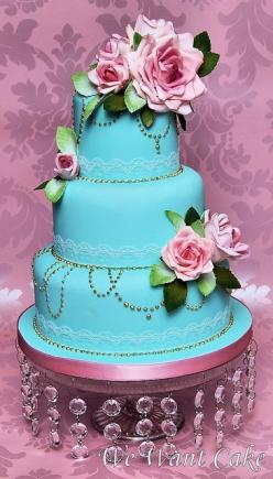 wedding cake - Stunning change to a darker blue and the flowers would pop: Pink Wedding, Turquoise Wedding, Bright Color, Blue Cake, Wedding Cakes, Elegant Cake, Beautiful Cakes, Blue Wedding, Pink Cake