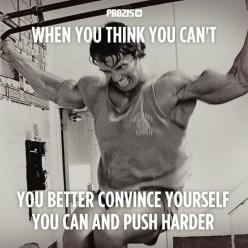 When you think you can't, convince yourself that you can, and push harder.: Quotes Arnold Schwarzenegger, Bodybuilding Quotes, Bodybuilding Motivation Quotes, Fitness Inspiration Motivation, Arnold Schwarzenegger Quotes, Arnold Quotes, Inspirational Quote