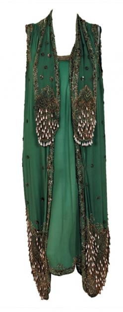 1920's Sage-Green Beaded Chiffon & Metallic Lace Flapper Dress ~Image © Timeless Vixen via 1stdibs: Metallic Lace, Flapper Dresses, 1920 S Sage Green, Chiffon Metallic, Sage Green Beaded, 1920S, Beaded Chiffon