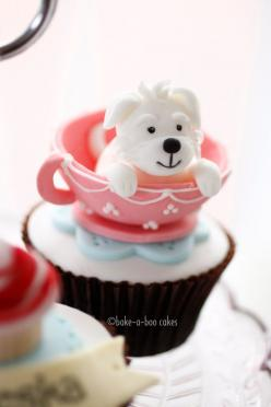 Adorable dog cupcake! ~ Bake A Boo Cakes NZ - my skills aren't this good but how cute!: Cup Cakes, Teacup Dog, Sweet, Dogs, Teacup Cupcake, Cakes Cupcakes, Puppy Cupcakes