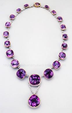 Antique Siberian amethyst and diamond necklace.    Did you know that Amethysts from Siberia have pink fire?: Amethysts, Diamonds, Purple Passion, Things Purple, Jewelry, Diamond Necklaces, Pink Fire