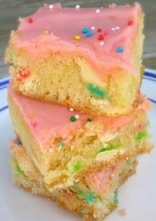 ---Cake Batter Brownies---  1 box yellow (or Funfetti!) cake mix  1/4 cup vegetable oil  1 egg  1/3 – 1/2 cup milk  1/4 cup rainbow sprinkles (if you use a yellow cake mix, add these in)  1/2 cup white chocolate chips, Bake 350 25-30 min. Sprinkles for th
