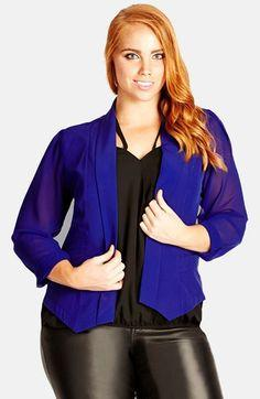 City Chic Chiffon Sleeve Blazer (Plus Size) available at #Nordstrom