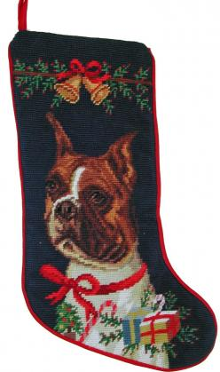 "Cropped Ear Boxer Dog Christmas Needlepoint Stocking - 11"" x 18"": Boxer Dogs, Cropped Ear, Ear Boxer, Needlepoint Stocking"