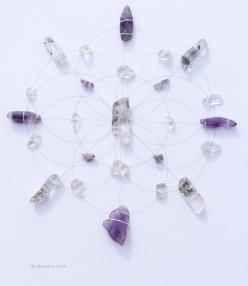 crystal grid No idea if I agree with this type of thing but think it might be fun to try.: Crystals Minerals Gemstones, Crystal Grids, Colorful Gemstones, Crystal Magic, Crystals Grid, Mandala