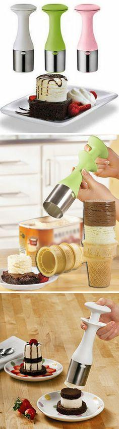 Cuisipro Scoop and Stack Ice Cream Scoop -  Makes your Ice Cream stacks more stable. Scoop & Release w/Ease.