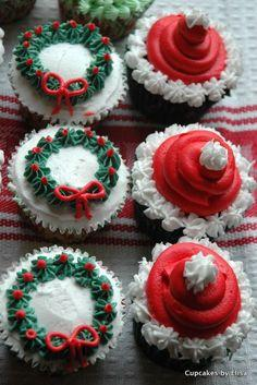 "cupcake decoration - I just know I am going to pin this and then try it and next thing you know its going to end up back on Pinterest under the ""NAILED IT"" section..... Chris don't laugh.: Christmas Food, Xmas Cupcake, Cup Cake, Cupcake Design"