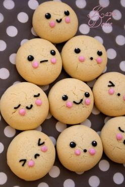 cute cookies! Need these faces on cake pops!: Cupcake, Sweet, Cake Pop, Kawaii Cookies, Cute Cookies, Cute Cake, Cute Food