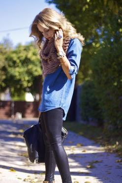 Denim and black with an scarf - perfect casual outfit!: Fashion Style, Casual Fall, Infinity Scarf, Fall Outfit, Casual Outfits, Leather Pants, Fall Winter
