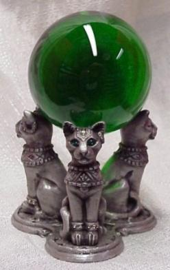 Emerald Green Crystal Ball with Green Eyed  Cat Pedestal: Crystalballs Wands, Stone Crystals Wands, Emerald Green, Crystal Ball, 3 3 3 Emerald, Crystals Stones Gemstones