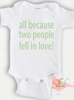 Funny baby Onesie Bodysuit - Baby Boy or Girl Clothing - all because two people fell in love - Sizes Newborn to 12 Months: Girl Clothing, People Fell, Boy Or Girl, Baby Boy, Funny Baby Onesie, Funny Babies
