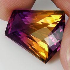 Gemmy Ametrine Raw Crystal Gemstone [I had to repin this, to show what Ametrine looks like]: Crystals, Gemstones, Ametrine Raw, Gem Stones, Mineral, Rock, Gemmy Ametrine