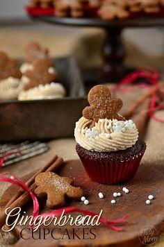 Gingerbread Cupcakes with Fluffy Cream Cheese Filling: Tasty Recipe, Fluffy Cream, Cupcake Recipes, Gingerbread Cupcakes, Food, 33 Cupcake, Filled Gingerbread, Cream Cheese Filling, Cream Cheeses