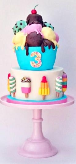 I love rocket lollies, twisters, fabs and i adore ice cream! My kind of cake!: Candy Cake, Amazing Cakes, Cake Ideas, Ice Cream Cakes, 3Rd Birthday, Ice Cream Sundae, Awesome Cake, Kids Cake, Birthday Cakes