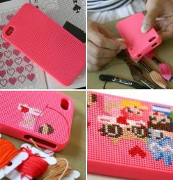 If you're crafty, have an iPhone, and need to kill time, we present to you: the Cross-Stitch iPhone Case.: Iphone Cases, Iphone 4S, Idea, Crossstitch, Iphonecases, Iphone 4 Cases, Cross Stitches, Diy