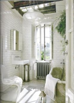 Interesting...I probably would do a lot of changing around for me personally, but I do like this.: Bathroom Design, Decor, Interior, White Tile, Bathroom Ideas, White Bathrooms, House, Tile Bathroom, Subway Tiles