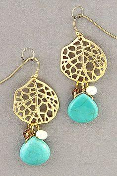 Leaf & Turquoise Necklace & Earring Set