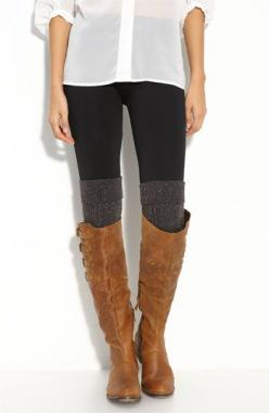 long white button-up + skinny black pants/leggings + gray textured over the knee sock + camel knee high boot : Style, High Socks, Legwarmers, Outfit, Knee Socks, Knee Highs, Boot Socks, Boots, Leg Warmers