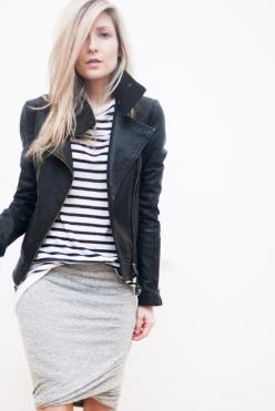 LOVE. LOVE. LOVE IT ALL. That jacket is amazing & I love the contrast between feminine & tough. So good.: Wrap Skirts, Striped Shirts, Style, Outfit, Leather Jackets, Fall Winter