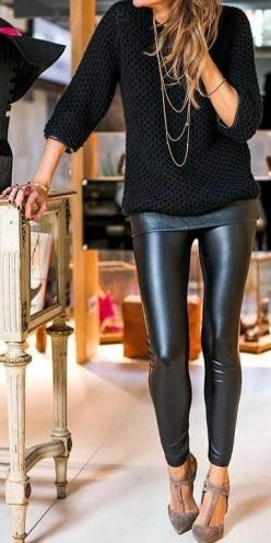 Love this look. The sweater would be too baggy/unflattering on me though. Would need something a little longer to cover the hips and more fitted at the waist: Fall Style, All Black, Black Leather, Black Outfit, Winter Outfit, Leather Leggings, Leather Pan