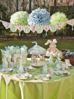 Not just birthdays, but how about this sweet Beatrix Potter-themed  tablescape for the kids at Easter time...: Peter O'Toole, Rabbit Party, Peter Rabbit, 1St Birthday, Party Ideas, Birthday Party, Baby Shower