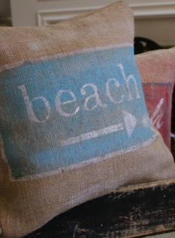 ORIGINALVintage Sign Series  Beach Sign Burlap by myadobecottage, $35.00: Beaches, Beach House, Idea, Burlap Pillows, Beachy Pillow, Beach Pillow, Beachhouse