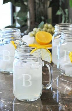 personalized glass mason jars, great for BBQs http://rstyle.me/n/ivx4vr9te: Masons, Gift Ideas, Wedding Ideas, Drinking Jars, Fashioned Drinking, Glass, Gifts, Mason Jars