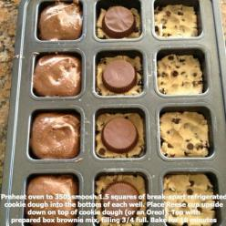 Prepackaged Cookie Dough on bottom, Reese's in the middle, and brownie batter on top. Bake at 350 for 18 minutes. This sounds AMMMAZING!: Cup, Recipe, Cookie Dough, Food, Box Brownies, Top, Dessert