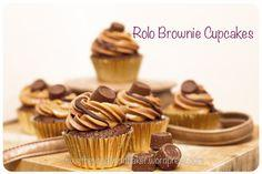 Rolo Brownie Cupcakes - my oh my these are ridiculously good! Added peanut butter chips to mine and used peanut butter & caramel icing. Insane. ~ J