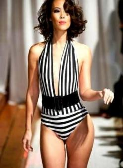 Sailor Black White Striped One-Piece Swimsuit/BodySuit Desig, Swimsuit, striped swimsuit bathing suit one piece, Chic: Bathing Suits, Swimsuit Bodysuit, Onepiece, Swimsuits, Black White