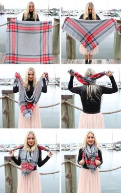 seen those ridiculously expensive blanket scarves in online boutiques? Cheap, yet ADORABLE DIY version--go to fabric store, find flannel fabric of your choice, purchase 1-2 yards...cut it in a square shape... fray it... wear it... I guarantee it will be l