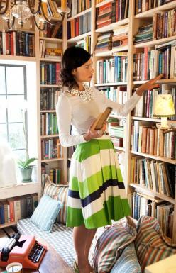 Shoshanna photography by Rachel McGinn from Matchbook: Libraries, Bookshelves, Fashion, Skirts, Style, Outfit, Kate Spade, Room