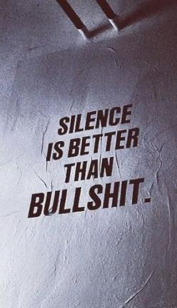 silence is better than bullshit: Word Of Wisdom, Remember This, Unknown Quotes, Silence Bullshit, Small Talk, Yeah True, So True, Silence Bs, Good Advice