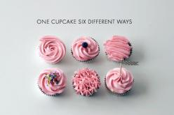 Six Cupcakes Decorated with Pink Icing, Six Different Ways: Modern Cake, Sweet, Recipe, Cupcakes, Coco Cake, Cupcake Frosting, Design, Cake Land, Dessert