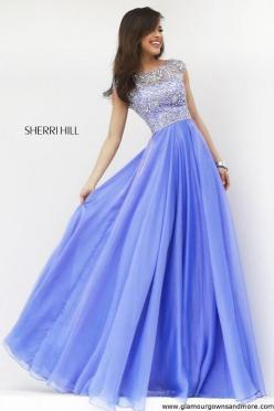 Stunning new fall dress from Sherri Hill! Long chiffon with high neck & cap sleeves! | GGM - Glamour Gowns and More: Modest Prom Dress, Prom Formal, Modest Formal Dress, Sherri Hill Dress, Purple Prom Dress, Prom Dresses, Promdress