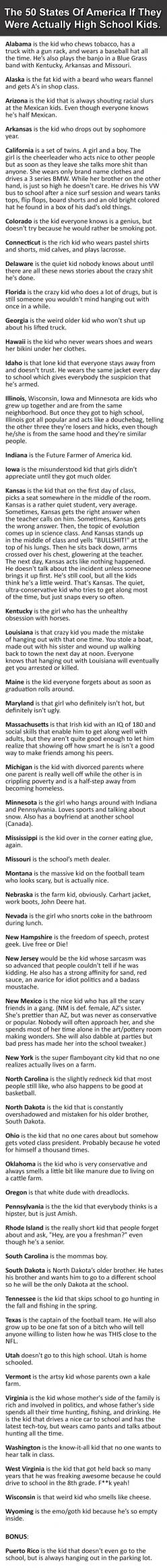 """The 50 States of America if they were actually high school kids.  """"Utah doesn't go to school.  Utah is home schooled"""" xD: Giggle, 50 States, Hetalia State, School Kids, America Funny, So Funny, U.S. States, High Schools"""