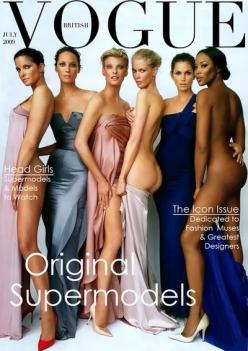 The original supermodels. Vogue cover, British, July 2009: Original Supermodels, Stephanie Seymour, Claudia Schiffer, Christy Turlington, Cindy Crawford, Vogue Cover, Linda Evangelista, Naomi Campbell