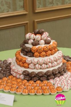 The ultimate sporty grooms cake with cake pop balls surrounding it!: Cakes, Basketball Cake, Cake Balls, Cake Pops, Cakeballs, Sports Cake, Birthday Cake