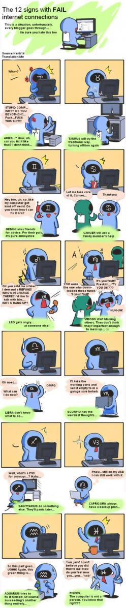 THIS HAPPENS ALL THE TIME Some of the stars seem to think their computer is COMPLETELY broken. While it's actually just 40% broken 0_0 Click to see larger: Zodiac Signs, Zodiac Stuff, The 12 Signs Comic, Birthday Zodiac Things, Zodiac Comics, Aquarius, Ho