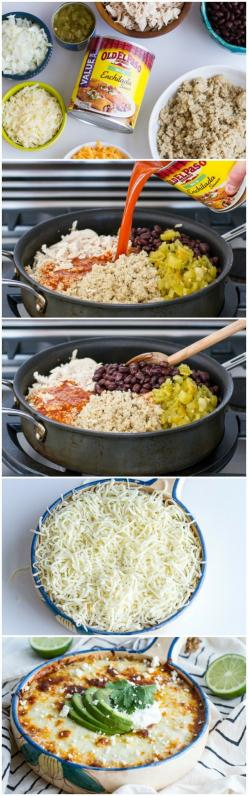This healthy alternative to enchiladas will blow your mind! Such a simple dish that you can jazz up with any of your favorite taco/enchilada toppings. A great option for your next potluck fiesta or...: Healthy Enchilada, Healthy Dinner Casserole, Healthy